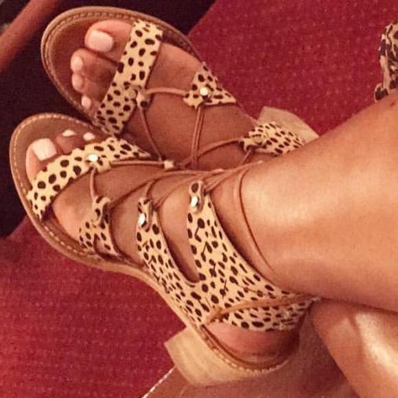 leopard lace up sandals